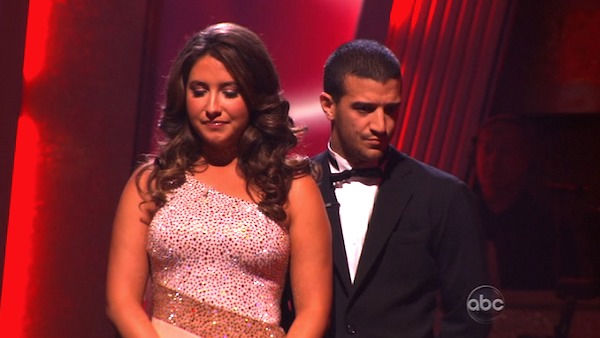Bristol Palin and Mark Ballas wait to hear their fate on &#39;Dancing With the Stars: The Results Show,&#39; Tuesday, Nov. 2, 2010.  The judges gave the couple 33 out of 40 for individual and 24 points for winning dance marathon for a total 57 out of 70. <span class=meta>(KABC Photo)</span>