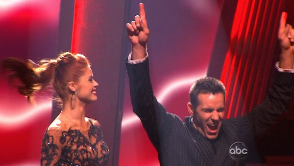 Kurt Warner and Anna Trebunskaya react to being safe on &#39;Dancing With the Stars: The Results Show,&#39; Tuesday, Nov. 2, 2010.  The judges gave the couple 34 out of 40 for individual and 27 points for winning dance marathon for a total 61 out of 70. <span class=meta>(KABC Photo)</span>