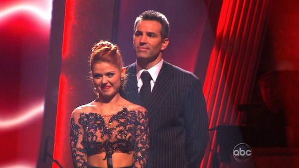 Kurt Warner and Anna Trebunskaya wait to hear their fate on &#39;Dancing With the Stars: The Results Show,&#39; Tuesday, Nov. 2, 2010.  The judges gave the couple 34 out of 40 for individual and 27 points for winning dance marathon for a total 61 out of 70. <span class=meta>(KABC Photo)</span>