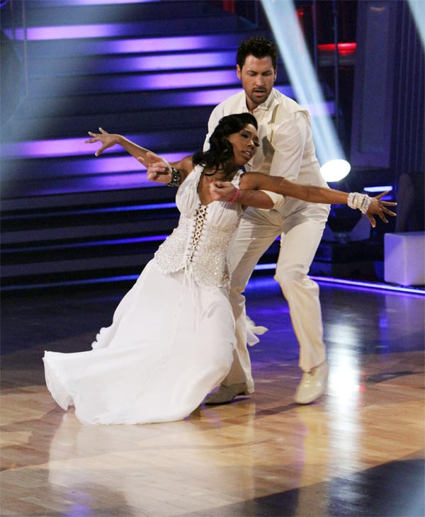 Brandy and Maksim Chmerkovskiy perform on 'Dancing With the Stars,' Monday, Nov. 8, 2010. The judges gave the couple 29 out of 30 for their waltz and 28 points out of 30 for their 'instant dance.' The couple earned a total of 57 out of 60.