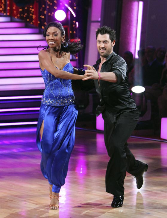"<div class=""meta ""><span class=""caption-text "">Brandy and Maksim Chmerkovskiy perform on 'Dancing With the Stars,' Monday, Nov. 8, 2010. The judges gave the couple 29 out of 30 for their waltz and 28 points out of 30 for their 'instant dance.' The couple earned a total of 57 out of 60.  (ABC Photo/Adam Larkey)</span></div>"