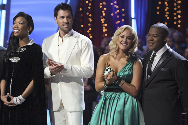 Brandy, Maksim Chmerkovskiy, Lacey Schwimmer, and Kyle Massey on 'Dancing With the Stars,' Monday, Nov. 8, 2010.