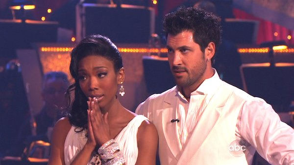Brandy and Maksim Chmerkovskiy perform on &#39;Dancing With the Stars,&#39; Monday, Nov. 8, 2010. The judges gave the couple 29 out of 30 for their waltz and 28 points out of 30 for their &#39;instant dance.&#39; The couple earned a total of 57 out of 60.  <span class=meta>(KABC Photo)</span>