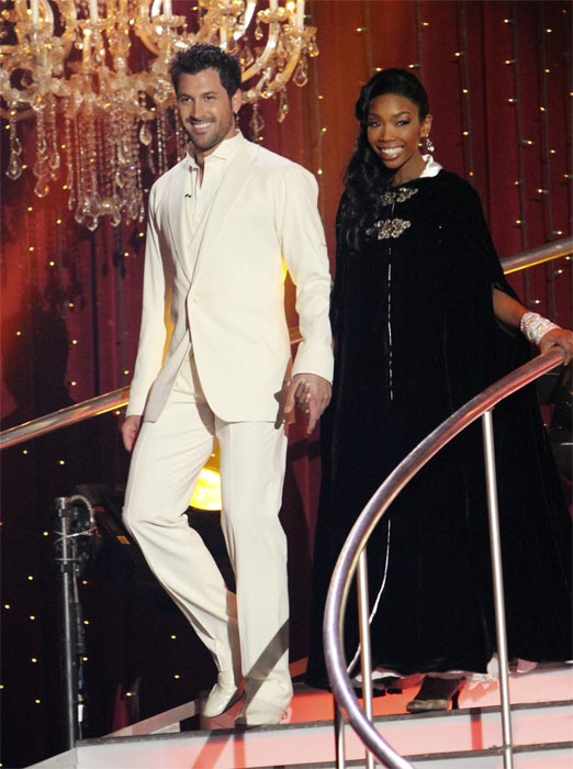 "<div class=""meta ""><span class=""caption-text "">Brandy and Maksim Chmerkovskiy on 'Dancing With the Stars,' Monday, Nov. 8, 2010.  (ABC Photo/Adam Larkey)</span></div>"