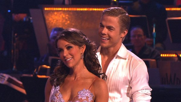 "<div class=""meta ""><span class=""caption-text "">Jennifer Grey and Derek Hough perform on 'Dancing With the Stars,' Monday, Nov. 8, 2010. The judges gave the couple 27 out of 30 for their quickstep and 30 points out of 30 for their 'instant dance.' The couple earned a total of 57 out of 60.  (KABC Photo)</span></div>"