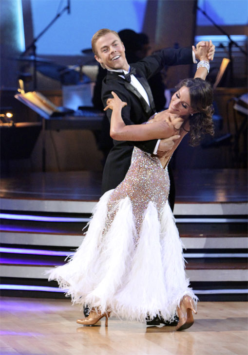 Jennifer Grey and Derek Hough perform on 'Dancing With the Stars,' Monday, Nov. 8, 2010. The judges gave the couple 27 out of 30 for their quickstep and 30 points out of 30 for their 'instant dance.' The couple earned a total of 57 out of 60.