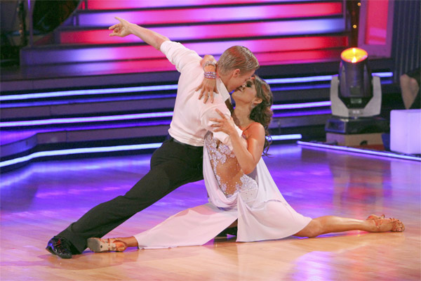 Jennifer Grey and Derek Hough perform on &#39;Dancing With the Stars,&#39; Monday, Nov. 8, 2010. The judges gave the couple 27 out of 30 for their quickstep and 30 points out of 30 for their &#39;instant dance.&#39; The couple earned a total of 57 out of 60.  <span class=meta>(ABC Photo&#47;Adam Larkey)</span>