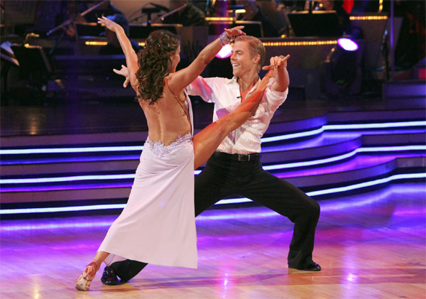 "<div class=""meta image-caption""><div class=""origin-logo origin-image ""><span></span></div><span class=""caption-text"">Jennifer Grey and Derek Hough perform on 'Dancing With the Stars,' Monday, Nov. 8, 2010. The judges gave the couple 27 out of 30 for their quickstep and 30 points out of 30 for their 'instant dance.' The couple earned a total of 57 out of 60.  (ABC Photo/Adam Larkey)</span></div>"