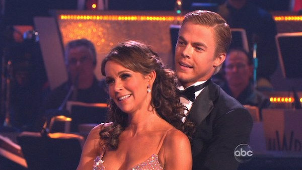 Jennifer Grey and Derek Hough perform on &#39;Dancing With the Stars,&#39; Monday, Nov. 8, 2010. The judges gave the couple 27 out of 30 for their quickstep and 30 points out of 30 for their &#39;instant dance.&#39; The couple earned a total of 57 out of 60.  <span class=meta>(KABC Photo)</span>