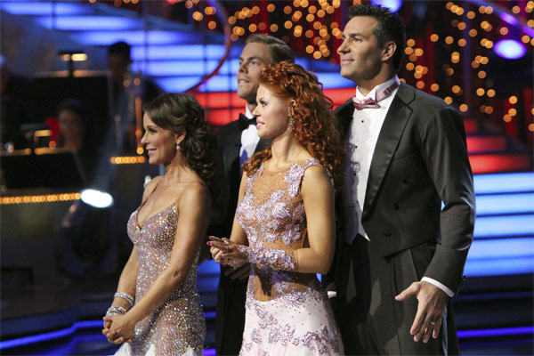 Jennifer Grey, Derek Hough, Kurt Warner, and Anna Trebunskaya on 'Dancing With the Stars,' Monday, Nov. 8, 2010.