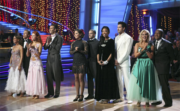 Jennifer Grey, Derek Hough, Anna Trebunskaya, Kurt Warner, Bristol Palin, Mark Ballas, Brandy, Maksim Chmerkovskiy, Lacey Schwimmer, and Kyle Massey on 'Dancing With the Stars,' Monday, Nov. 8, 2010.