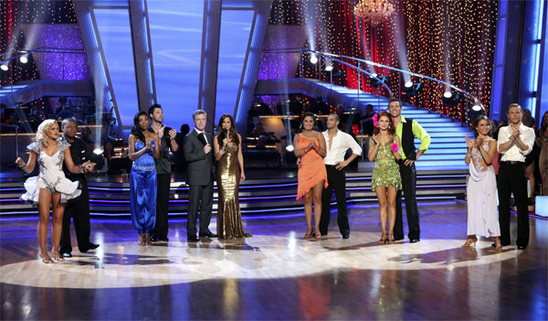 Lacey Schwimmer, Kyle Massey, Brandy, Maksim Chmerkovskiy, Tom Bergeron, Brooke Burke, Bristol Palin, Mark Ballas, Anna Trebunskaya, Kurt Warner, Jennifer Grey, and Derek Hough on &#39;Dancing With the Stars,&#39; Monday, Nov. 8, 2010. <span class=meta>(ABC Photo&#47;Adam Larkey)</span>