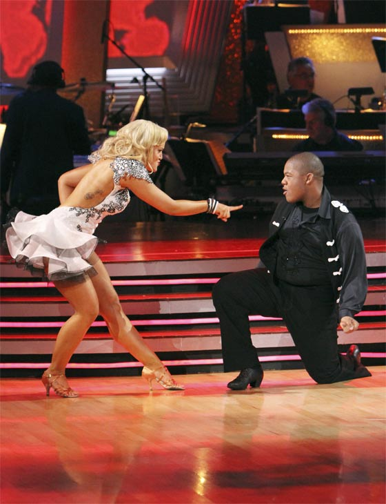 Kyle Massey and Lacey Schwimmer perform on &#39;Dancing With the Stars,&#39; Monday, Nov. 8, 2010. The judges gave the couple 27 out of 30 for their Viennese waltz and 27 points out of 30 for their &#39;instant dance.&#39; The couple earned a total of 56 out of 60.  <span class=meta>(ABC Photo&#47;Adam Larkey)</span>