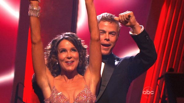 Jennifer Grey and Derek Hough react to being safe on &#39;Dancing With the Stars: The Results Show,&#39; Tuesday, Nov. 9, 2010. The judges gave the couple 27 out of 30 for their quickstep and 30 points out of 30 for their &#39;instant dance.&#39; The couple earned total of 57 out of 60. <span class=meta>(KABC Photo)</span>