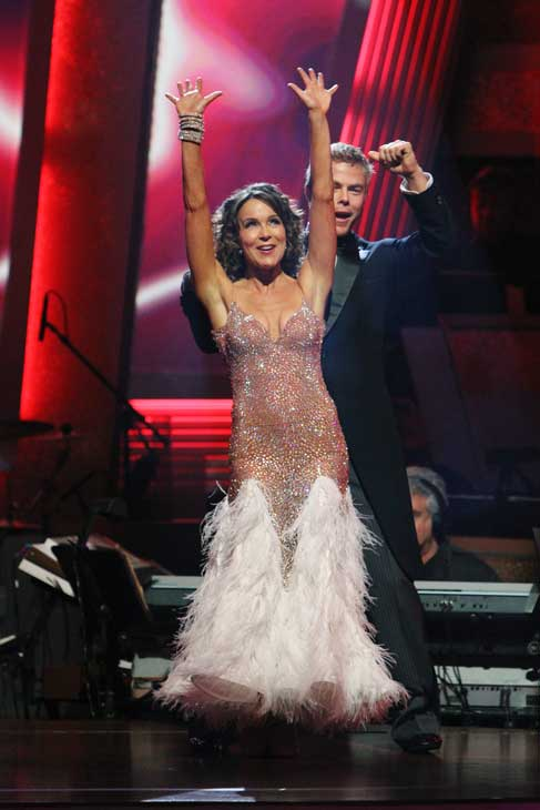 Jennifer Grey and Derek Hough react to being safe on &#39;Dancing With the Stars: The Results Show,&#39; Tuesday, Nov. 9, 2010. The judges gave the couple 27 out of 30 for their quickstep and 30 points out of 30 for their &#39;instant dance.&#39; The couple earned total of 57 out of 60. <span class=meta>(ABC Photo&#47; Adam Larkey)</span>