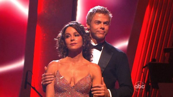 Jennifer Grey and Derek Hough wait to hear their fate on &#39;Dancing With the Stars: The Results Show,&#39; Tuesday, Nov. 9, 2010. The judges gave the couple 27 out of 30 for their quickstep and 30 points out of 30 for their &#39;instant dance.&#39; The couple earned total of 57 out of 60. <span class=meta>(KABC Photo)</span>