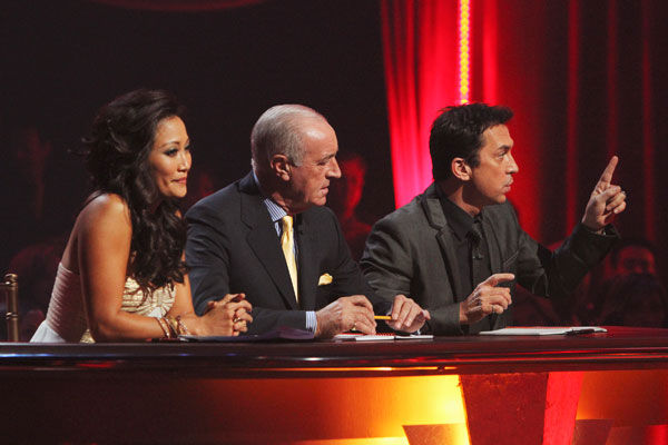"<div class=""meta ""><span class=""caption-text "">Carrie Ann Inaba, Len Goodman, and Bruno Tonioli give their final judgment before the night's elimination on 'Dancing With the Stars: The Results Show,' Tuesday, Nov. 9, 2010. (ABC Photo/ Adam Larkey)</span></div>"