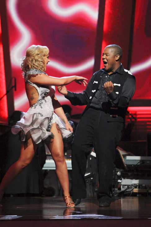 "<div class=""meta image-caption""><div class=""origin-logo origin-image ""><span></span></div><span class=""caption-text"">Kyle Massey and Lacey Schwimmer react to being safe on 'Dancing With the Stars: The Results Show,' Tuesday, Nov. 9, 2010.  The judges gave the couple 27 out of 30 for their Viennese waltz and 27 points out of 30 for their 'instant dance.' The couple earned a total of 56 out of 60. (ABC Photo/ Adam Larkey)</span></div>"