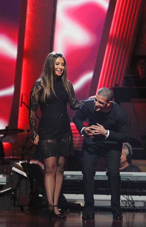 Bristol Palin and Mark Ballas react to being safe on &#39;Dancing With the Stars: The Results Show,&#39; Tuesday, Nov. 9, 2010. The judges gave the couple 24 out of 30 for their Argentine tango and 23 points out of 30 for their &#39;instant dance.&#39; The couple earned total of 48 out of 60. <span class=meta>(ABC Photo&#47; Adam Larkey)</span>