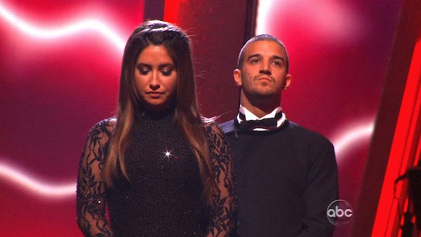 Bristol Palin and Mark Ballas wait to hear their fate on &#39;Dancing With the Stars: The Results Show,&#39; Tuesday, Nov. 9, 2010.  The judges gave the couple 24 out of 30 for their Argentine tango and 23 points out of 30 for their &#39;instant dance.&#39; The couple earned total of 48 out of 60. <span class=meta>(KABC Photo)</span>