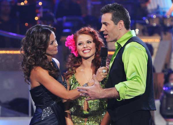 Kurt Warner and Anna Trebunskaya react to being eliminated on &#39;Dancing With the Stars: The Results Show,&#39; Tuesday, Oct. 26, 2010. The judges gave the couple 24 out of 30 for their waltz and 24 points out of 30 for their &#39;instant dance.&#39; The couple earned total of 48 out of 60. <span class=meta>(ABC Photo&#47; Adam Larkey)</span>