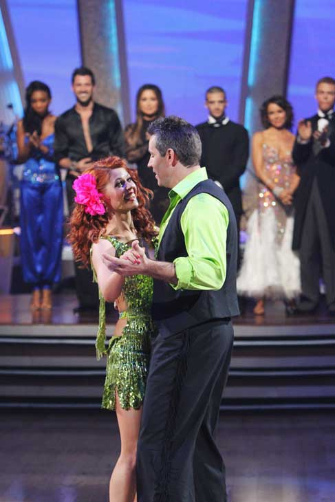 "<div class=""meta ""><span class=""caption-text "">Kurt Warner and Anna Trebunskaya react to being eliminated on 'Dancing With the Stars: The Results Show,' Tuesday, Oct. 26, 2010. The judges gave the couple 24 out of 30 for their waltz and 24 points out of 30 for their 'instant dance.' The couple earned total of 48 out of 60. (ABC Photo/ Adam Larkey)</span></div>"