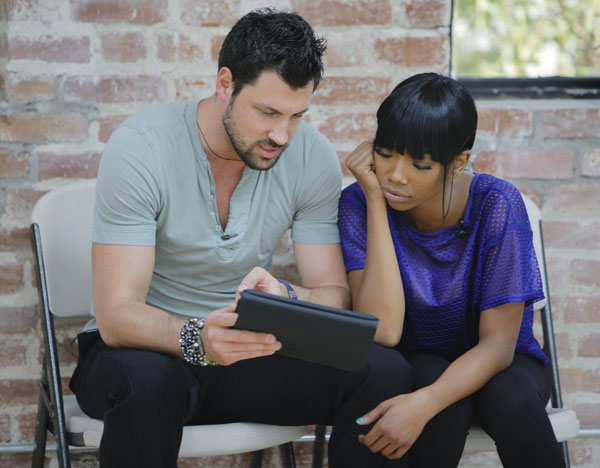 Brandy joins Maksim Chmerkovskiy, who is back for his ninth season. The season 11 star-studded cast and their professional partners get ready to break in their dancing shoes on ABC&#39; &#39;Dancing With the Stars&#39; for the long awaited two-hour season premiere, Monday, September 20. <span class=meta>(ABC&#47;Greg Zabilski)</span>