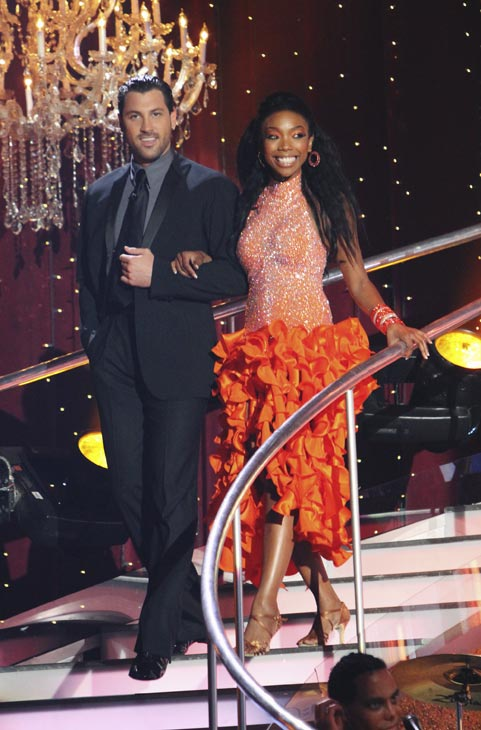 "<div class=""meta ""><span class=""caption-text "">Brandy and Maksim Chmerkovskiy appear on 'Dancing With the Stars,' Monday, Oct. 4, 2010. The judges gave the couple 24 points out of 30. (ABC Photo/ Adam Larkey)</span></div>"
