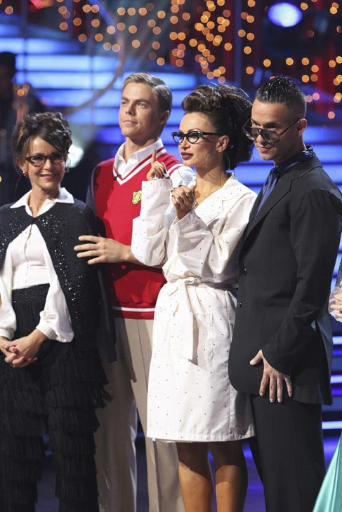 Jennifer Grey, Derek Hough, Mike 'The Situation' Sorrentino and Karina Smirnoff are seen on 'Dancing With the Stars' on Monday, Oct. 4, 2010.