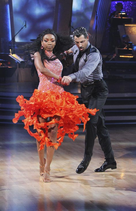 Brandy and Maksim Chmerkovskiy perform on &#39;Dancing With the Stars,&#39; Monday, Oct. 4, 2010. The judges gave the couple 24 points out of 30. <span class=meta>(ABC Photo&#47; Adam Larkey)</span>
