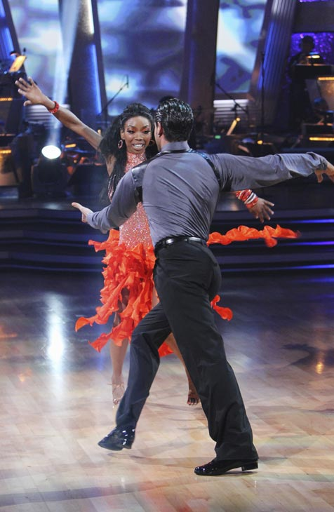 "<div class=""meta ""><span class=""caption-text "">Brandy and Maksim Chmerkovskiy perform on 'Dancing With the Stars,' Monday, Oct. 4, 2010. The judges gave the couple 24 points out of 30. (ABC Photo/ Adam Larkey)</span></div>"