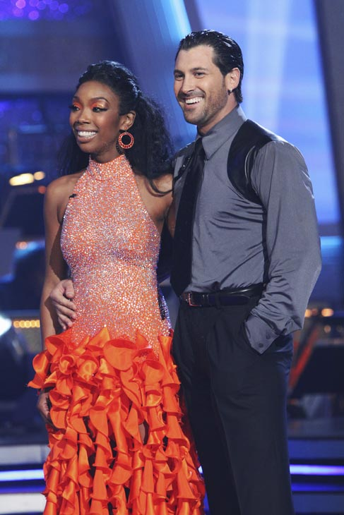 "<div class=""meta ""><span class=""caption-text "">Brandy and Maksim Chmerkovskiy appear before the judges on 'Dancing With the Stars,' Monday, Oct. 4, 2010. The judges gave the couple 24 points out of 30. (ABC Photo/ Adam Larkey)</span></div>"