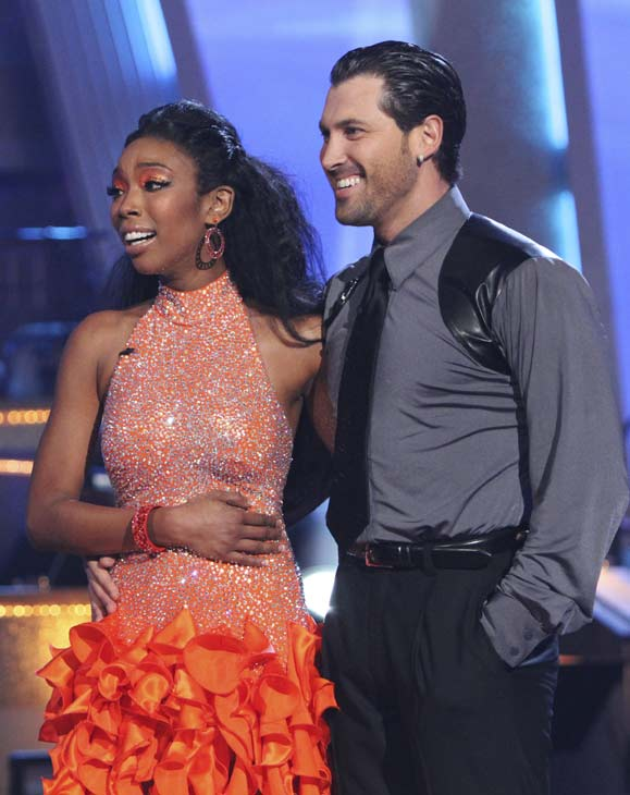 Brandy and Maksim Chmerkovskiy appear before the judges on 'Dancing With the Stars,' Monday, Oct. 4, 2010. The judges gave the couple 24 points out of 30.
