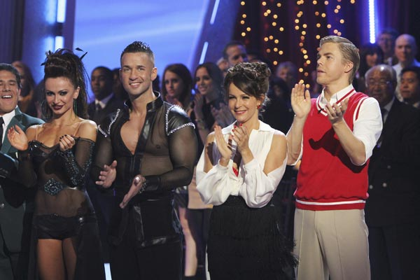 Mike 'The Situation' Sorrentino, Karina Smirnoff, Jennifer Grey and Derek Hough are seen on 'Dancing With the Stars,' Monday, Oct. 4, 2010.