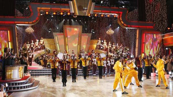 USC Marching Band performs with Karina Smirnoff and Derek Hough on 'Dancing With the Stars: The Results Show', Sept. 29, 2009