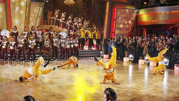 USC Marching Band performs with Karina Smirnoff and Derek Hough on 'Dancing With the Stars: The Results Show', Sept.