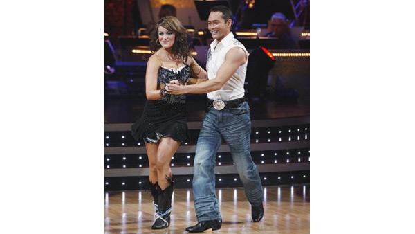 Mark Dacascos and Lacey Schwimmer perform during 'Dancing With the Stars,' Oct. 12, 2009
