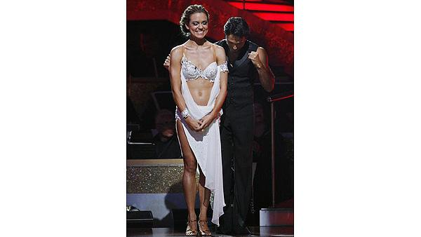 Natalie Coughlin and Alec Mazo react on 'Dancing With the Stars,' Oct. 13, 2009