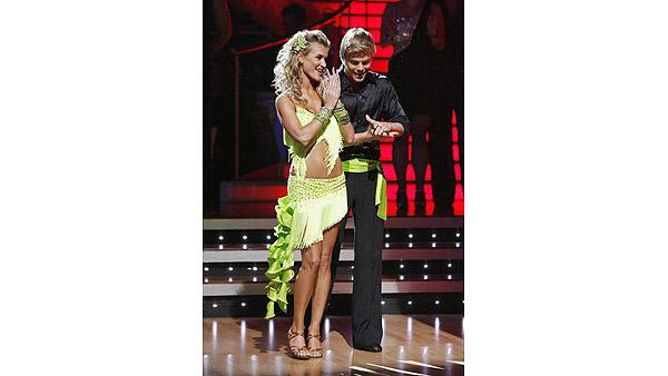 Joanna Krupa and Derek Hough react on 'Dancing With the Stars,' Oct. 13, 2009
