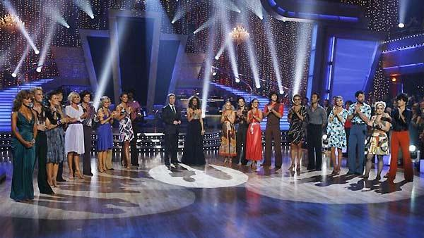 The celebrity competitors are seen lined up at the end of 'Dancing With the Stars', October 19, 2009