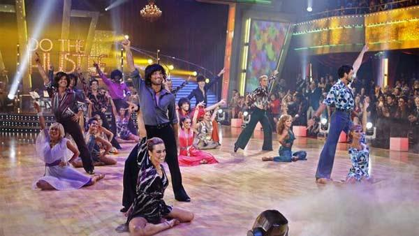 Celebrity competitors do the Hustle for their first group dance on 'Dancing With the Stars', October 19, 2009