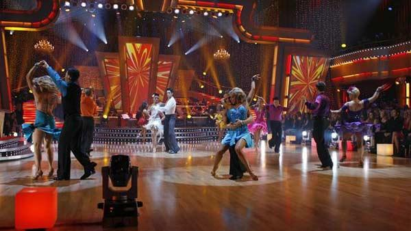 Celebrity competitors perform the Mambo during a dance-off on 'Dancing With the Stars,' October 26, 2009