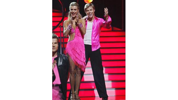 Joanna Krupa and Derek Hough react on 'Dancing With the Stars,' Oct. 27, 2009