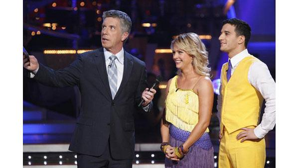Melissa Joan Hart and Mark Ballas after they were eliminated on 'Dancing With the Stars,' Oct. 27, 2009