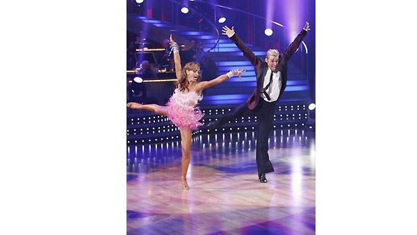 Aaron Carter and Karina Smirnoff perform during 'Dancing With the Stars,' Monday, November 2, 2009