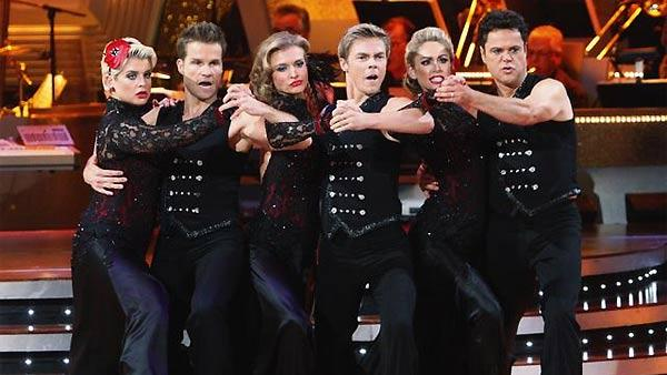 Joanna Krupa, Derek Hough, Kelly Osbourne, Louis Van Amstel, Donny Osmond and Kym Johnson perform their group Tango during 'Dancing With the Stars,' Monday, November 2, 2009
