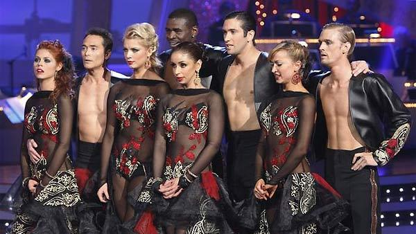 Mark Dacascos , Anna Trebunskaya, Michael Irvin, Anna Demidova, Mya, Dmitry Chaplin, Aaron Carter and Karina Smirnoff perform their group Paso Doble during 'Dancing With the Stars,' Monday, November 2, 2009