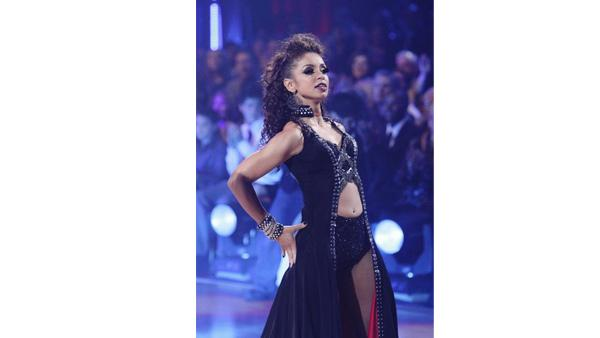 Mya and partner Dmitry Chaplin dance the first round Monday night on 'Dancing With the Stars,' Monday, November 23, 2009