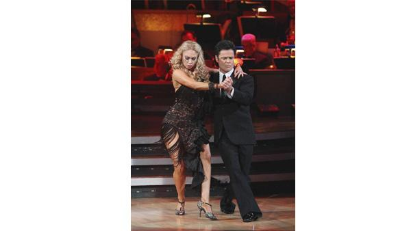 Donny Osmond performs with his with professional dance partner Kym Johnson on 'Dancing with the Stars: The Results Show'