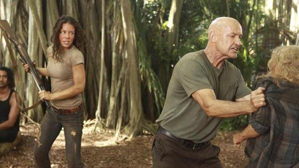 'LOST: Recon' (Tuesday, March 16, 2010): Locke/Smokey (Terry O'Quinn) keeps Claire (Emilie de Ravin) at bay as Kate (Evangeline Lilly) defends herself.